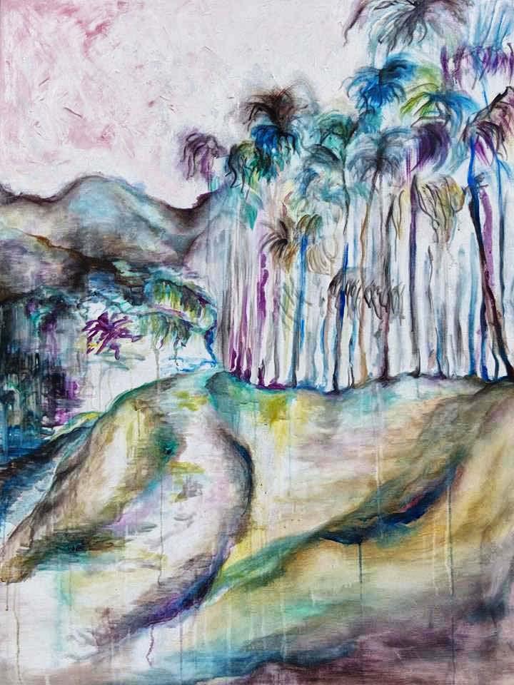 Huile sur toile d'un jardin tropical