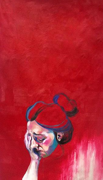 Huile sur toile d'une femme qui pleure sur fond rouge