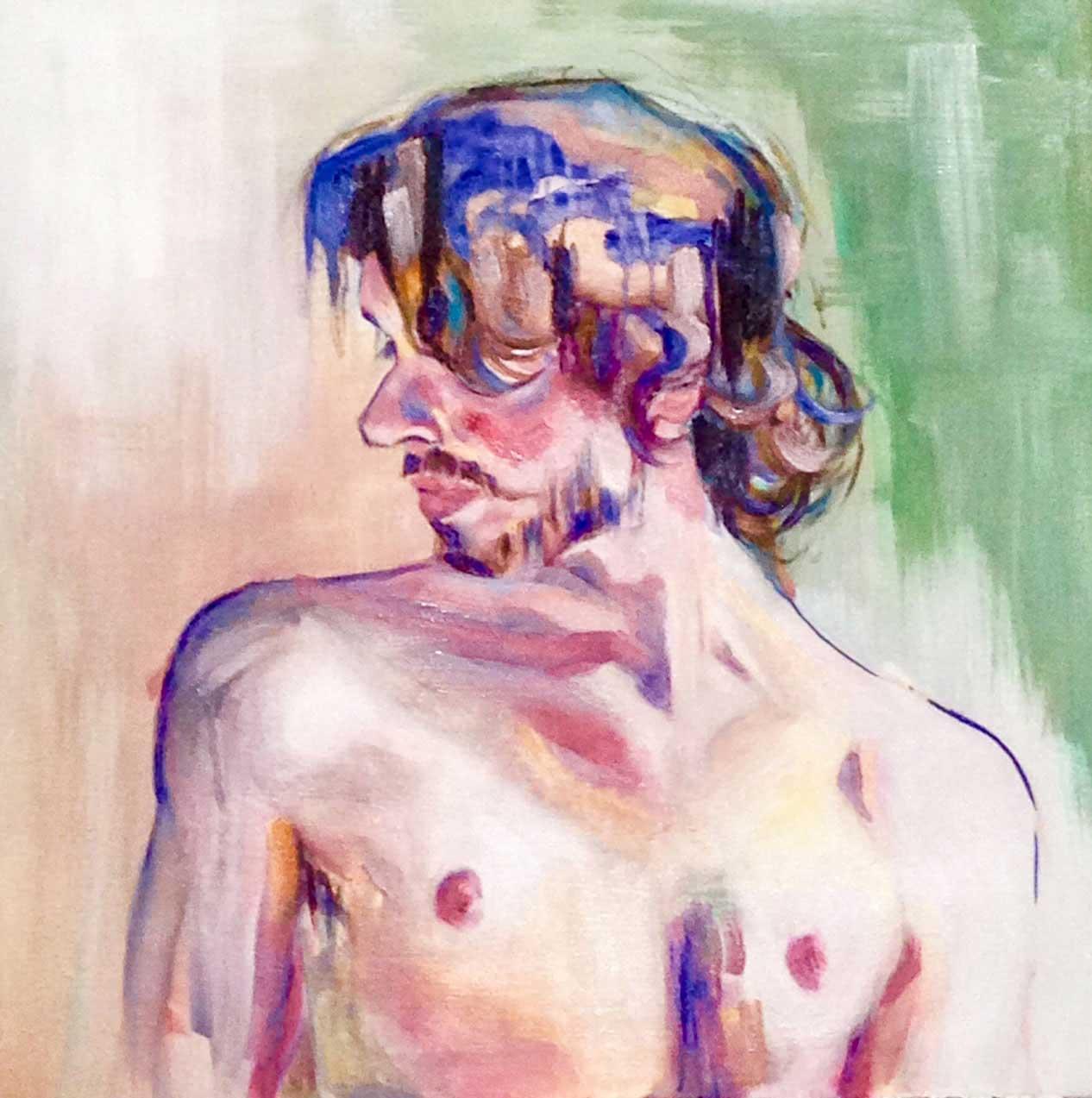 Huile sur toile d'un homme nu de profil cadré buste