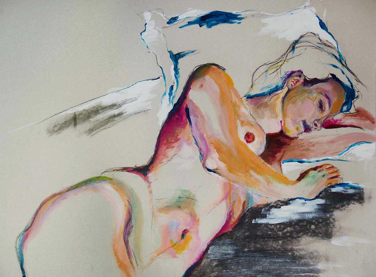 Acrylique sur carton gris d'une femme nue allongée sur un oreiller