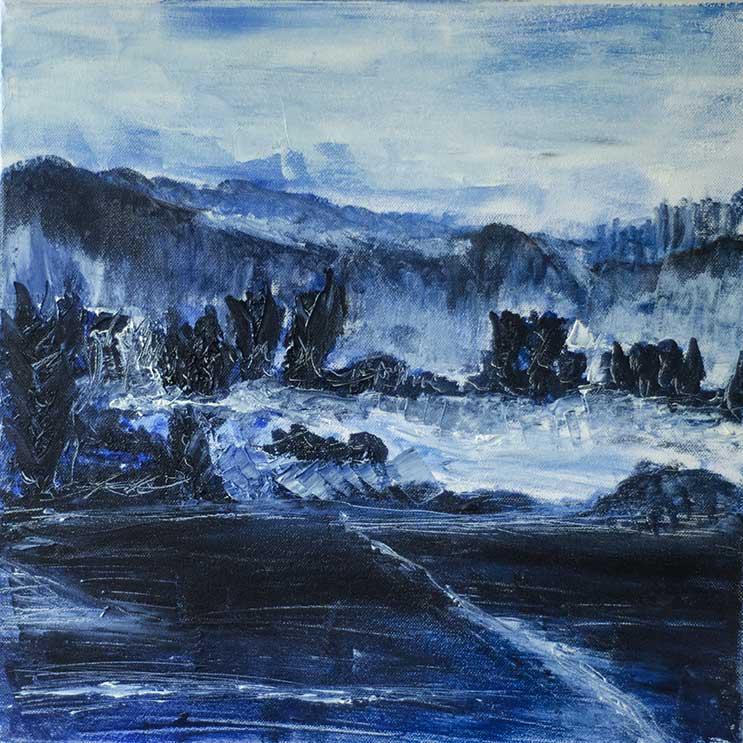 Huile sur toile d'un paysage montagneux au bord d'un lac