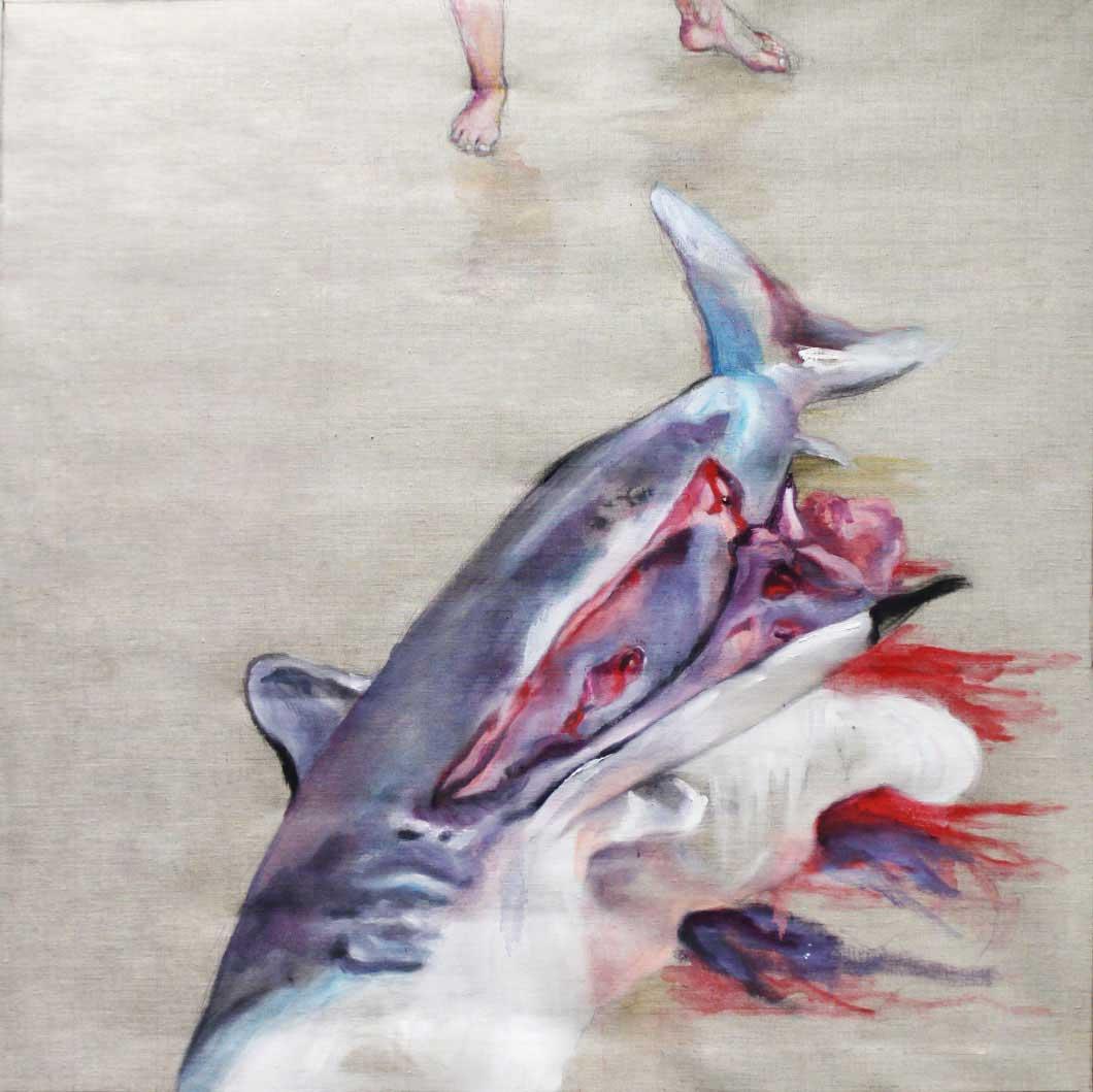 Huile sur toile d'une carcasse de requin sur un bord de plage