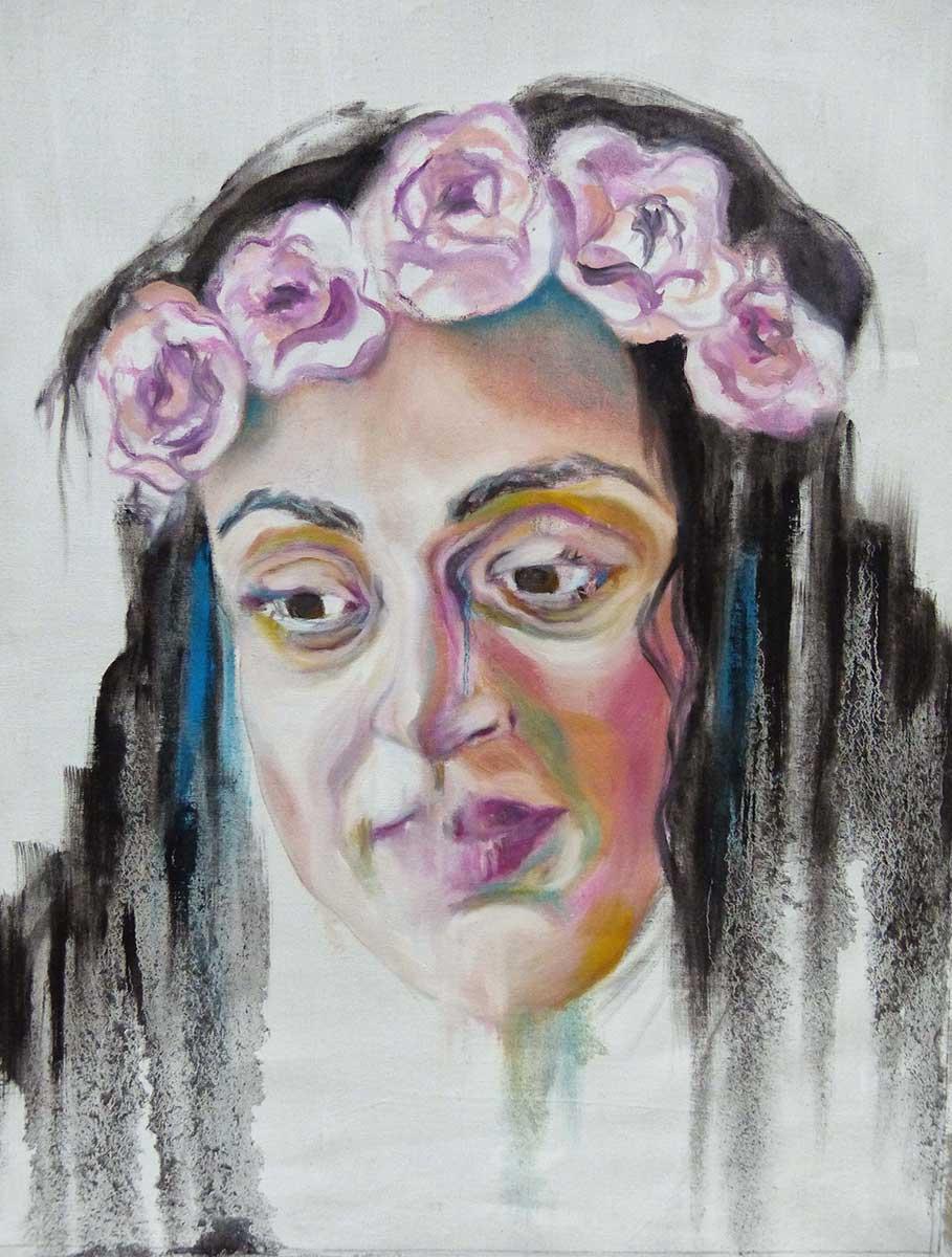 Huile sur toile d'une femme mélancolique à la couronne de fleurs