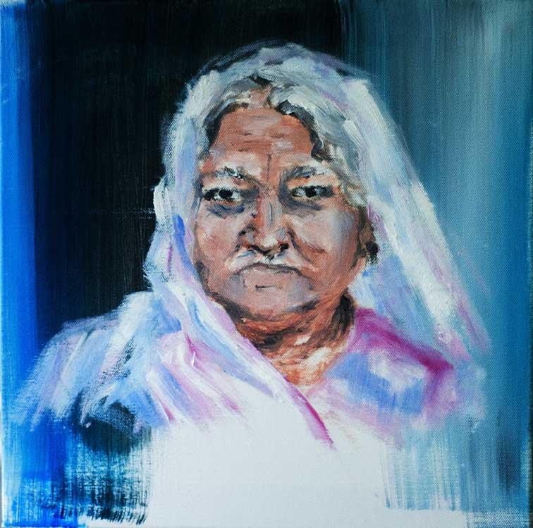 Huile sur toile d'une vieille femme voilée sur fond bleu