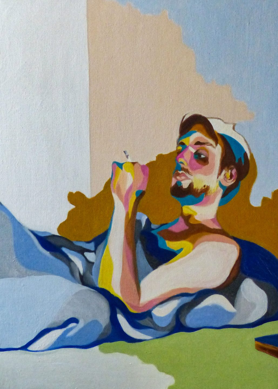Portrait d'un homme à la cigarette dans son lit