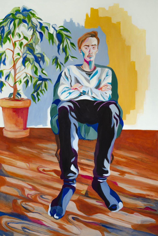 Huile sur carton gris portrait jeune homme assis
