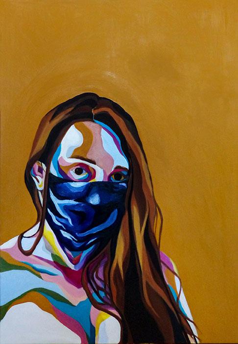 autoportrait au masque en trois quarts avec cheveux détachés