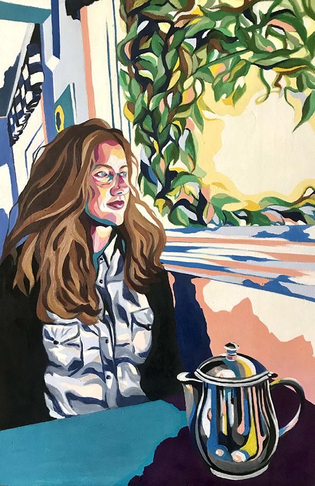 """Portrait d""""une jeune femme regardant par la fenêtre d'un café"""