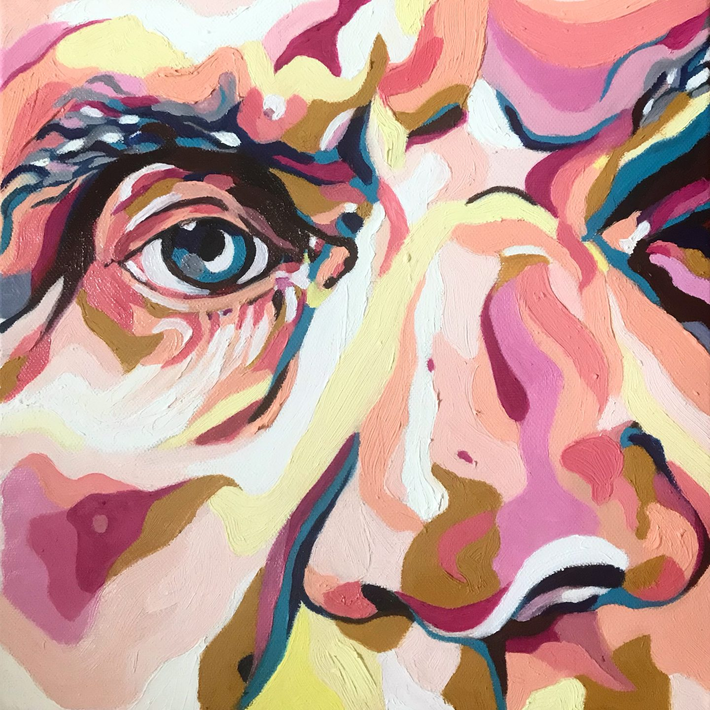 Peinture à l'huile représentant une célébrité de l'Histoire des Arts de près